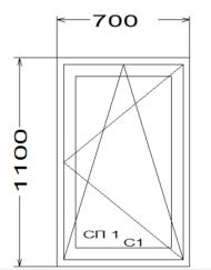 Окно в деревенский домик (поворотно-откидное)